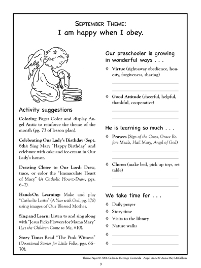 Review Daily Lesson Plans PreschoolKindergarten Catholic